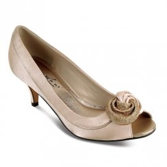 Ripley Woman's Champagne Formal Low Heel Peep Toe Court