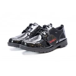 Kickers Girls Lachly Lace Black School Shoes -114112