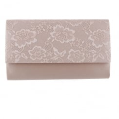 Barino Womens Gold Lace Clutch Bag