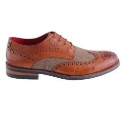 Morgan&Co Tan Leather&Tweed Brogue Mens Shoes