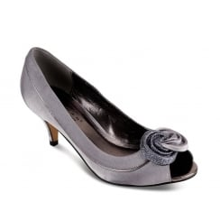 Ripley Woman's Grey Low Heel Peep Toe Court