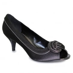 Lunar Ripley Black Satin Peep Toe Evening Heels