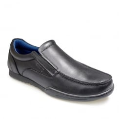 POD Pegasus Black Leather Boys Slip On School Shoes