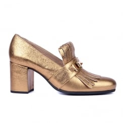 Unisa Gold Leather Block Heeled Loafer