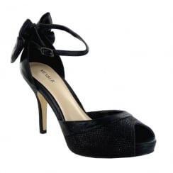 d27f6420d5 Menbur Delta Black Glitter Bow Peep-Toe High Heeled Sandal ...