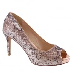 Barino Rose Gold Reptile Shimmer Open Toe Court Shoe