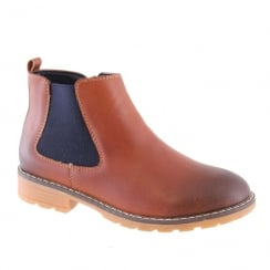 Morgan & Co Boy's Tan/Navy Leather Chelsea Boot