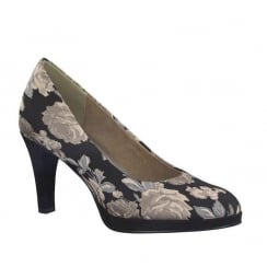 Marco Tozzi Black Floral Block Heeled Court Shoe