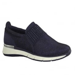 Marco Tozzi Navy Elasticated Panel Flat Slip On Sneakers