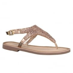 Marco Tozzi Rose Metallic Flat Toe Post Sandals