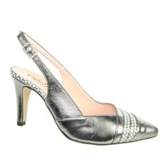 Capollini Womens Lynette Pewter Slingback Pointed Heels