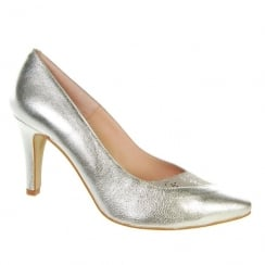 Capollini Whitney Silver Pointed Court Heels - C524