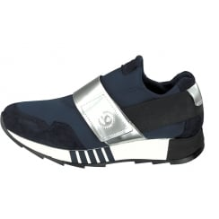 Bugatti Navy Wide Strap Slip On Trainer