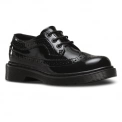 Dr.Martens Junior Black Patent Lace Up Brogues Shoe - 3989