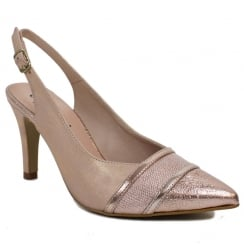 Capollini Womens Elisse Rose Gold Slingback Pointed Heels