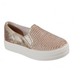 Skechers Double Up Shiny Dancer Slip On Rose Gold Sneaker
