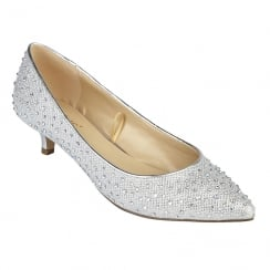Lotus Pinnacle Silver Diamante Kitten Heel Court Shoes