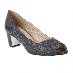 Lotus Attica Navy Patent & Diamante Open-Toe Shoes