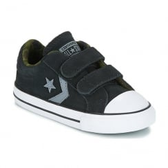 Converse Kids Star Player 2V Infant Black Suede Velcro Sneakers