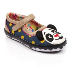 Irregular Choice Girls Panda Toe Gold Denim Kids Pumps Shoe 4396-03b