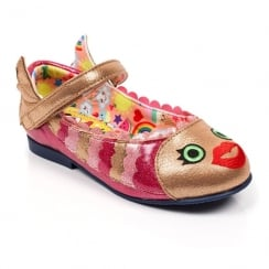 Irregular Choice Girls Fish Face Gold/Pink Metallic Ankle Strap Shoes 4395-09b
