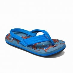 Reef Kids Infant Junior Ahi T-Rex Flip Flops Sandals - Blue