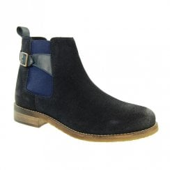 Adesso Womens Zoe Suede Chelsea Ankle Boots - Navy