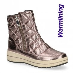 Caprice Womens Rose Metallic Sonw Ankle Boots