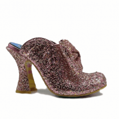 Irregular Choice Glitter Queen Heeled Fashion Mule Sandals - Pink