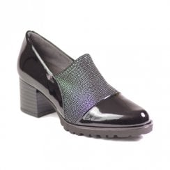 Pitillos Womens Mid Block Heeled Slip On Shoes - Black