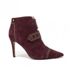 Amy Huberman Mr Deed Plum Pointed Toe Stiletto Ankle Boots - Burgundy