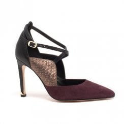 Amy Huberman Top Hat Plum Pointed Toe Stiletto Shoes - Burgundy