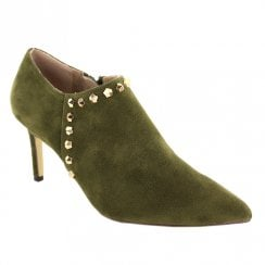 Menbur Godo Pointed Low Ankle Heeled Booties - Khaki