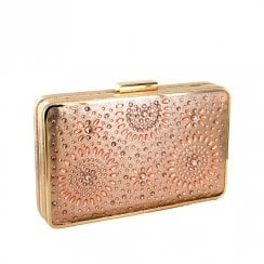Menbur Serrato Rose Gold Occasions Clutch Bag