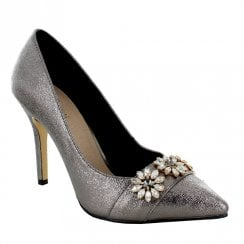 26cd612e4df Menbur Lesina Stiletto Occasion Court Shoes - Silver Grey