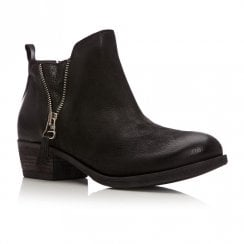 Moda In Pelle Besti Black Leather Ankle Boots