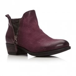 Moda In Pelle Besti Burgundy Leather Ankle Boots