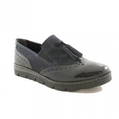 Marco Tozzi Brogue Style Slip-On Flat Navy Loafers