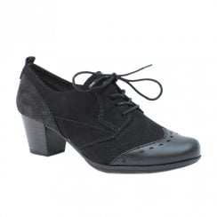 Soft Line Womens Black Heeled Lace Up Shoes