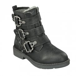 Mustang Girls Decorative Buckles Flat Ankle Boots - Dark Grey