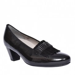 Ara Ladies Turin Black Leather Low Heel Pumps