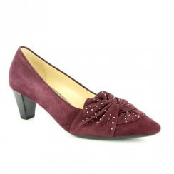 Gabor Ashton Decorated Bow Court Shoes - Burgundy