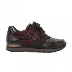 Gabor Ladies Mix Leather Lace Up Sneakers - Burgundy Red