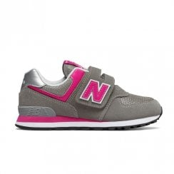 New Balance Girls 574 Velcro Sneakers - Grey/Pink