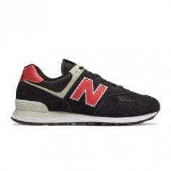 New Balance Mens 574 Core Suede Lace Up Sneakers - Black Red
