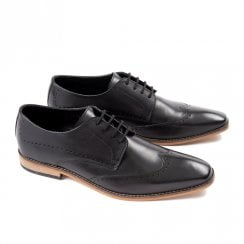 Ikon Mens Howard Smart Brogue Shoes - Black