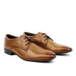 Ikon Pullman Mens Retro Smart Derby Shoes - Tan