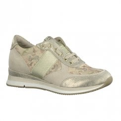Marco Tozzi Womens Lace Up Trainers Shoes - Beige Dune Floral