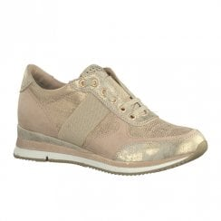 Marco Tozzi Womens Lace Up Trainers Shoes - Rose Gold