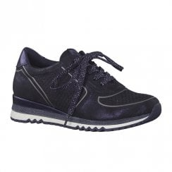 Marco Tozzi Womens Lace Up Trainers Shoes - Navy Metallic